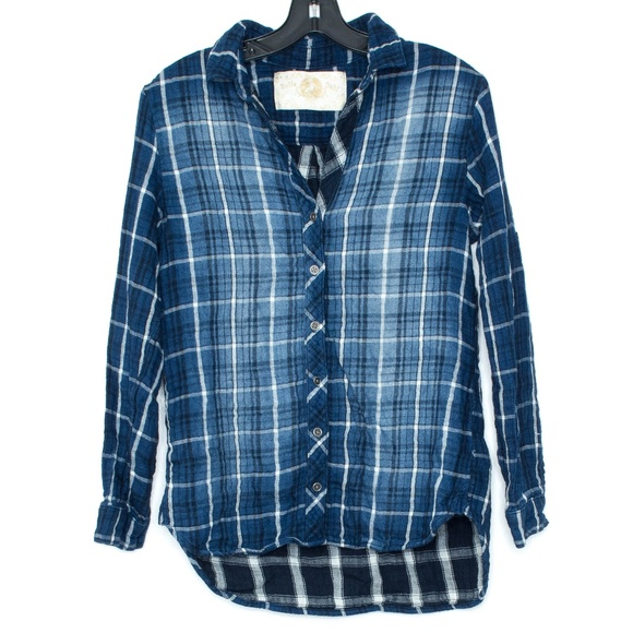 Bella Dahl Blue Plaid Button Front Top Small B2